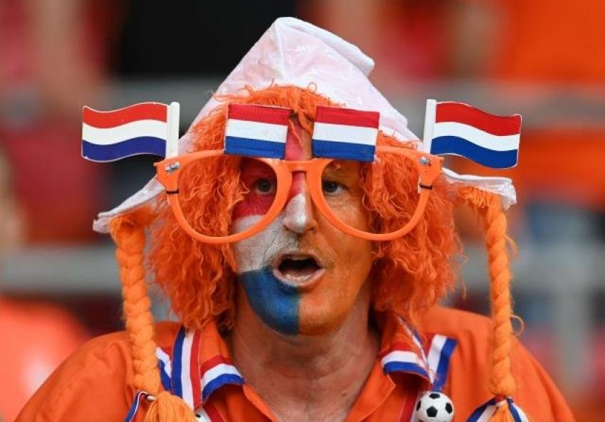 Hollanda - Ukrayna maçında tribünlerde renkli görüntüler