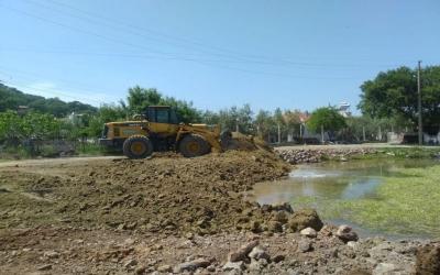 Yayla'da tehlike arz eden gölet kapatıldı