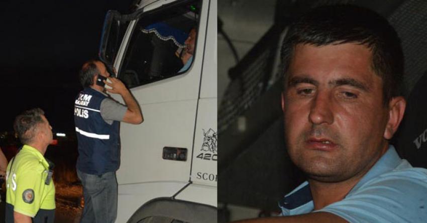 Polisi görünce kendini TIR'a kilitledi!