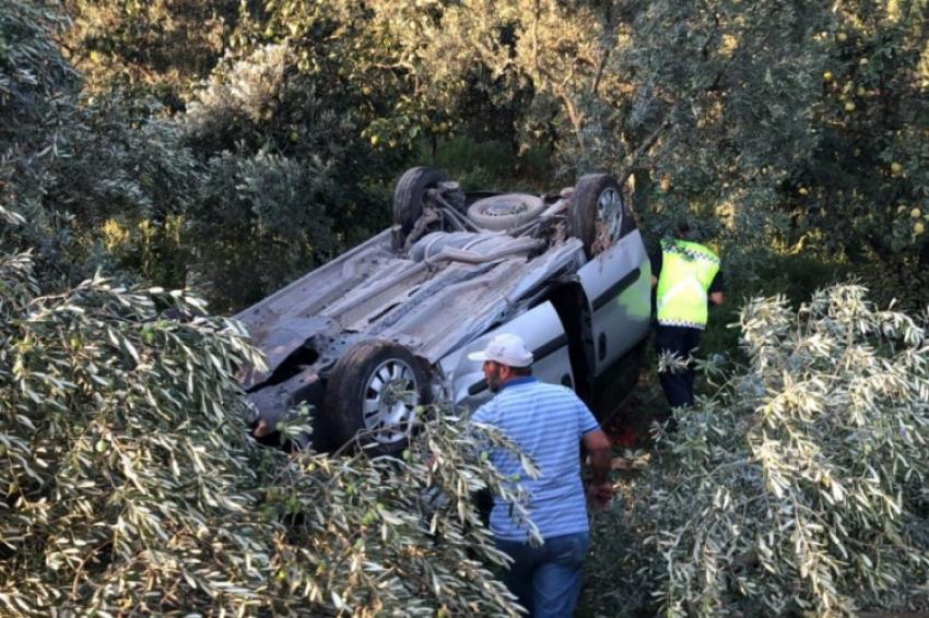 Takla atan araçta aynı aileden 5 kişi yaralandı