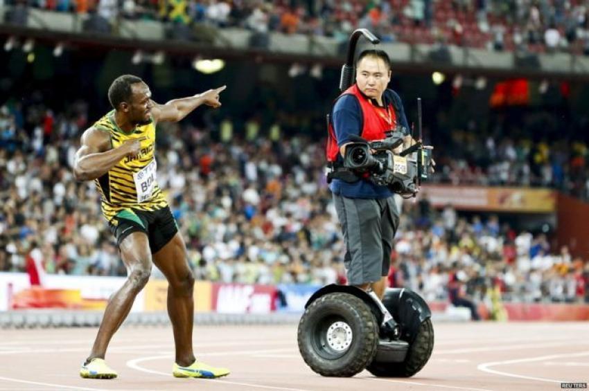 Usain Bolt'un kameramanla imtihanı