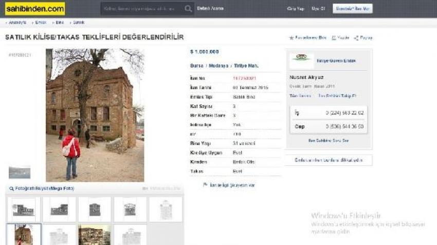 Bursa'da sahibinden 1 milyon dolara satılık kilise
