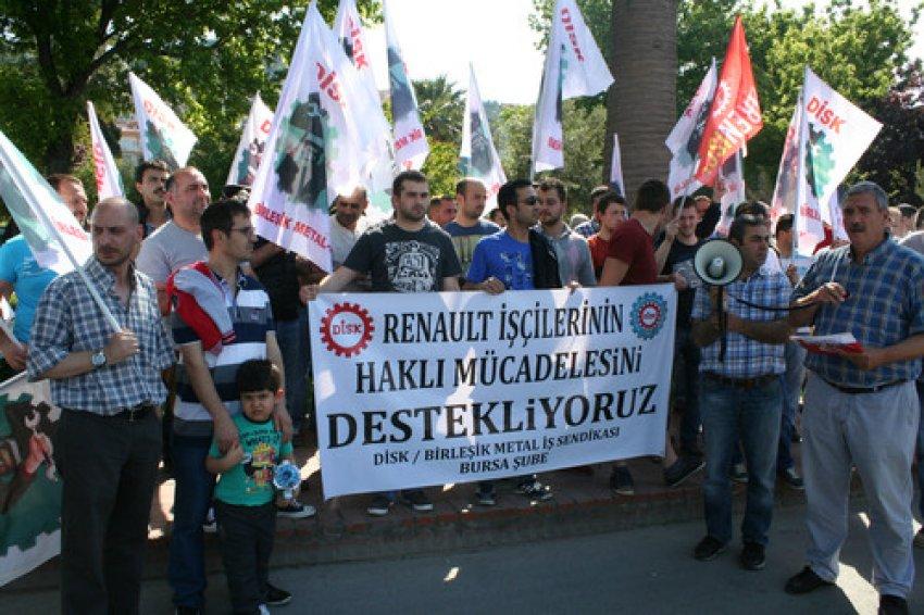 Renault işçilerine Mudanya'dan destek eylemi