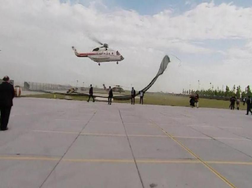 Erdoğan'ın helikopteri piste inemedi