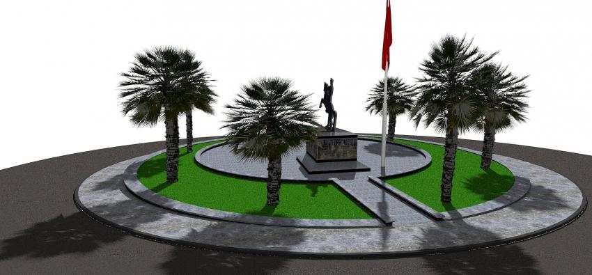 Karacabey'de Atatürk Anıtı'na çevre düzenlemesi