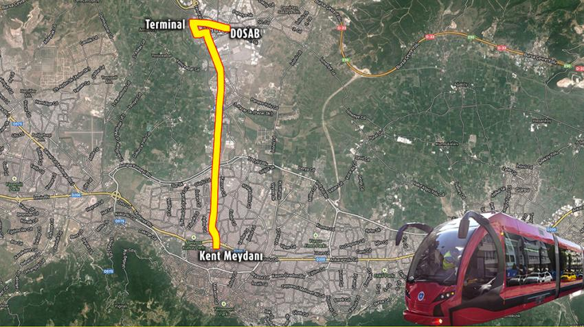 """Bursa'da tramvayın yeni rotası """"Terminal"""""""
