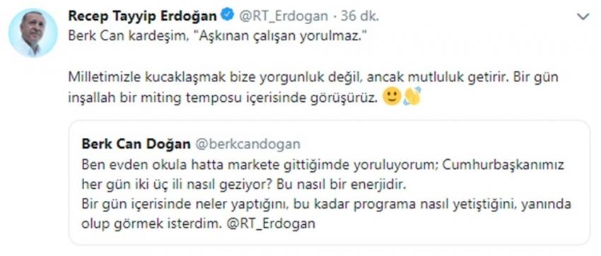 """Cumhurbaşkanı Erdoğan: """"Aşkınan çalışan yorulmaz"""""""