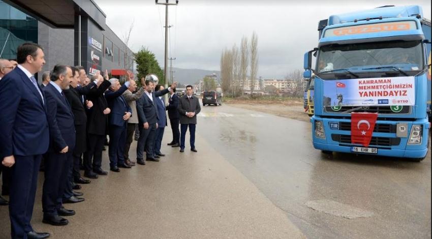 Bursa İş Dünyası 6 TIR Dolusu Yardım Malzemesini Kilis'e Uğurladı