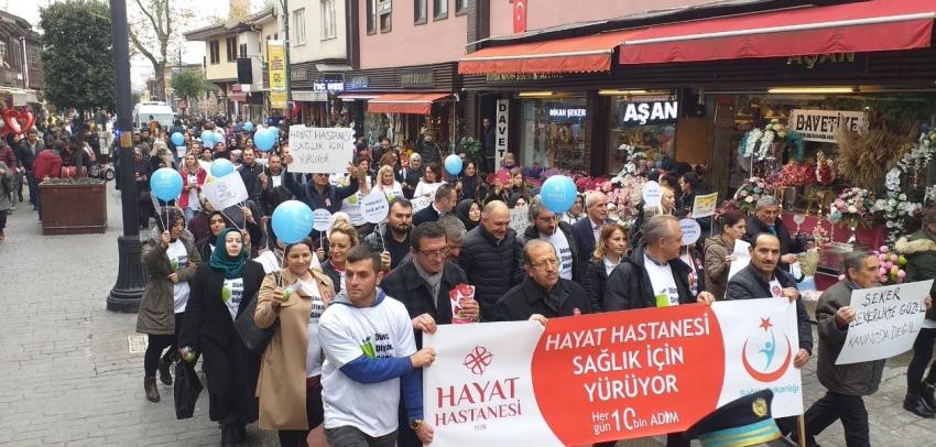Bursa'da doktorlar diyabet için yürüdüler