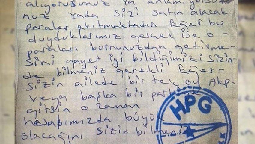PKK'dan şok mektup!