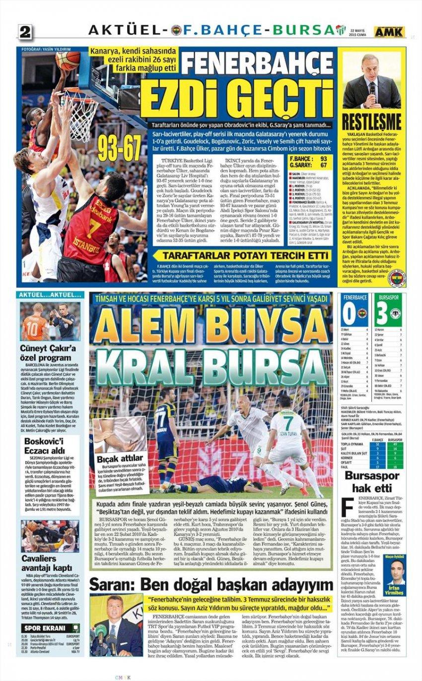 Gazete manşetleri (Fenerbahçe 0-3 Bursaspor)