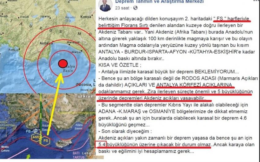 Depremi 1 gün önceden bildi