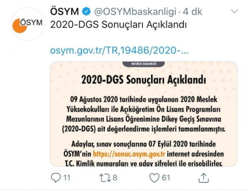 2020-DGS sonuçları açıklandı
