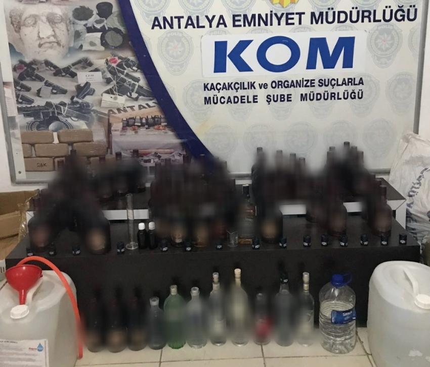 Antalya'da sahte içki imalatçılarına büyük darbe