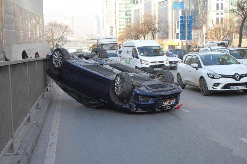 Lüks otomobil takla attı: 1 yaralı