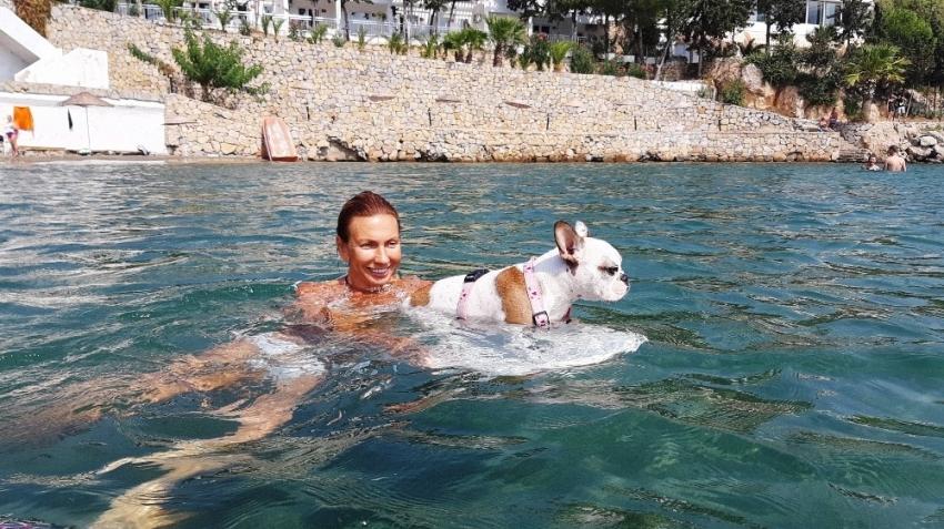 Bu köpeğin en büyük zevki sörf yapmak