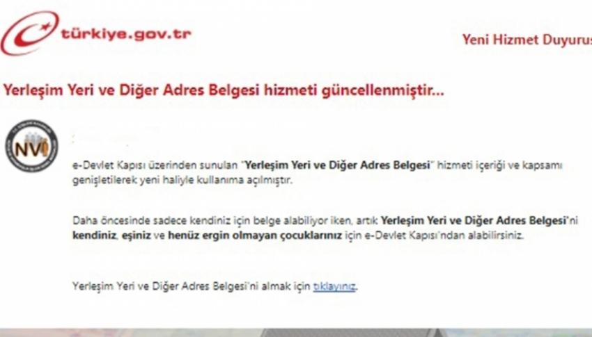 E-Devlet'ten adres belgesi almak kolaylaştı