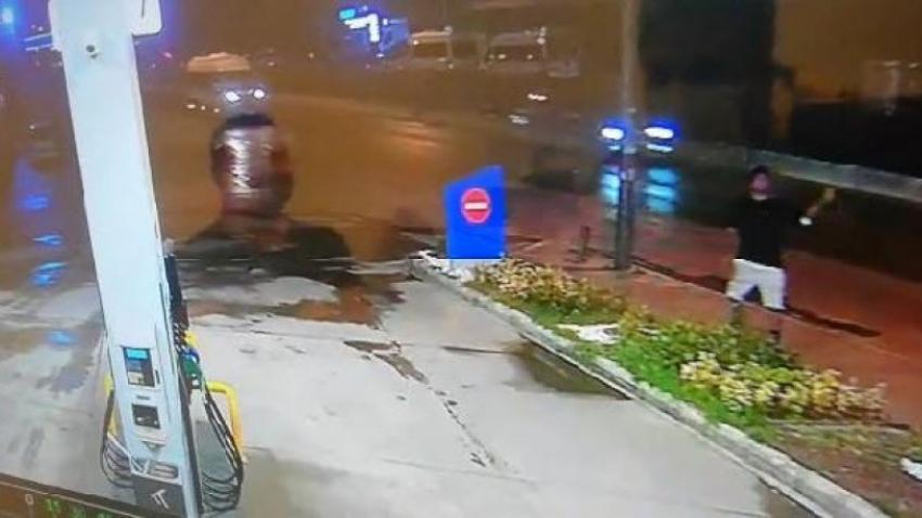 Akaryakıt istasyonuna oyuncak el bombası ile saldırı