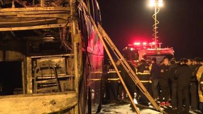 Çin'de tur otobüsü yandı: 26 ölü