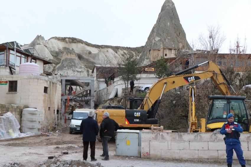Kapadokya'daki otel yıkımına ara verildi
