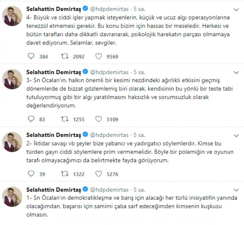 Demirtaş'tan teröristbaşı Öcalan'a destek açıklaması