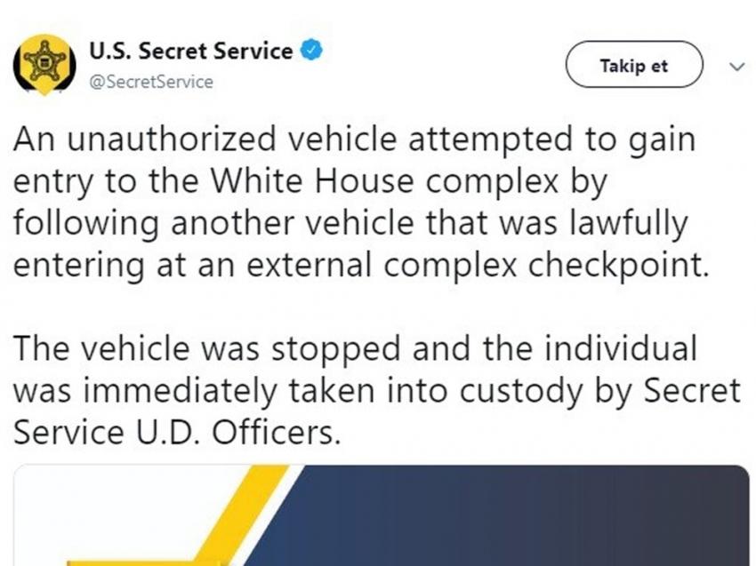 Beyaz Saray'da şüpheli araç paniği