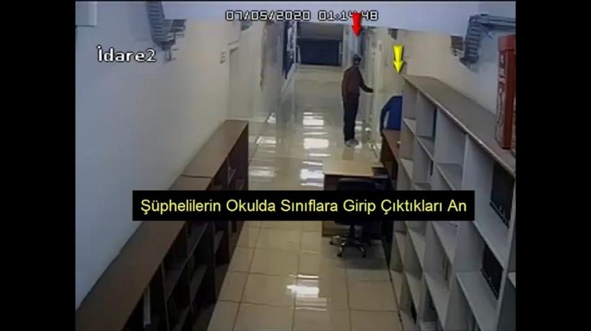 Okuldaki hırsızlık anı kamerada