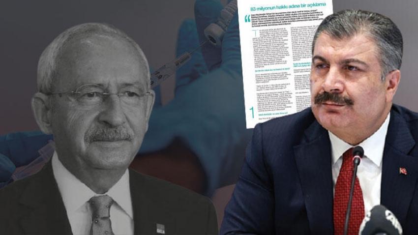 Bakan Koca'dan Kılıçdaroğlu'nun bedava koronavirüs aşısı iddiasına sert tepki