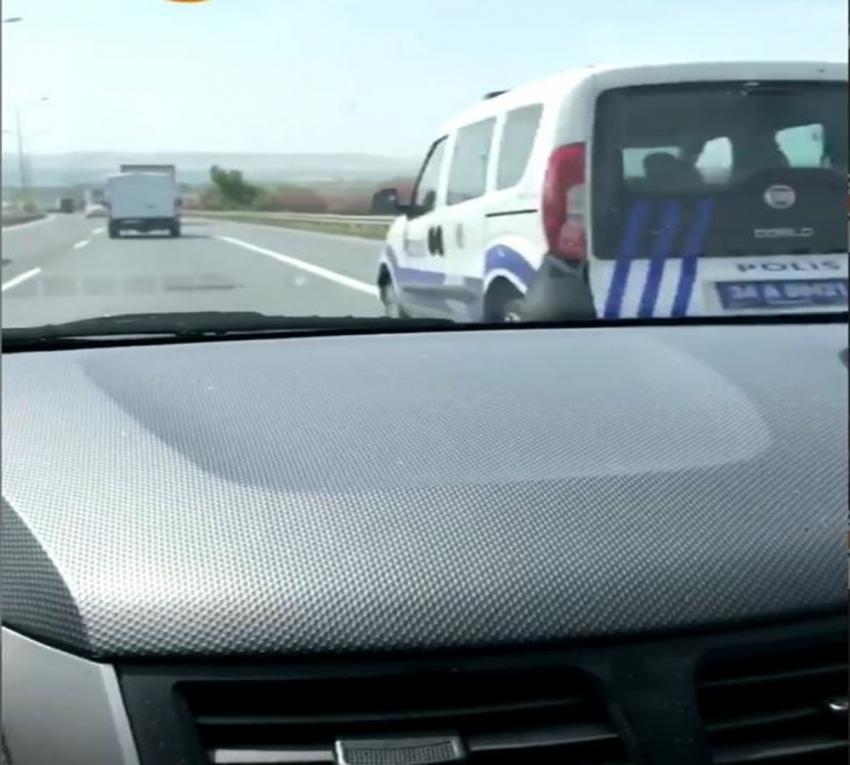 Polis aracına bile makas attı