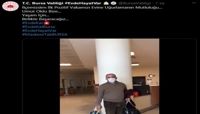 Bursa'da koronayı yenen hasta alkışlarla taburcu edildi
