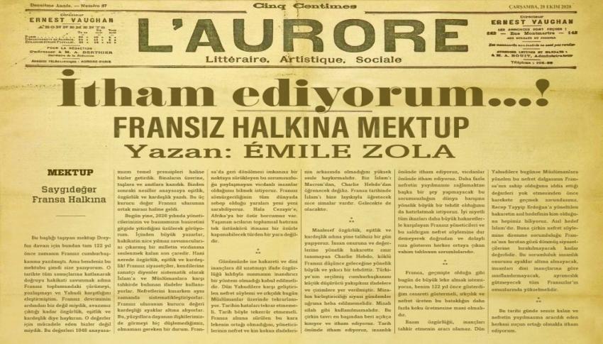 Emile Zola'nın 122 yıl önce yazdığı mektup yine gündemde