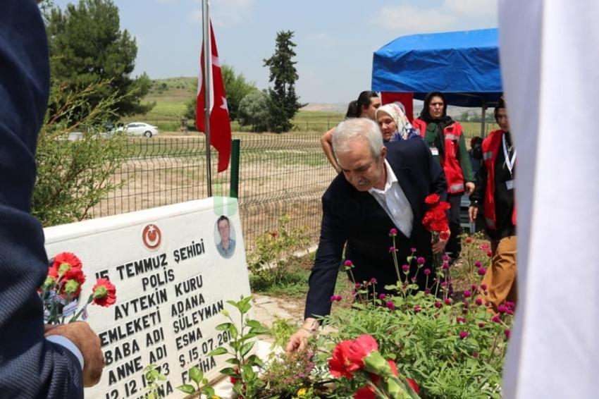 Kozan'da 15 Temmuz şehidi polis kabri başında anıldı