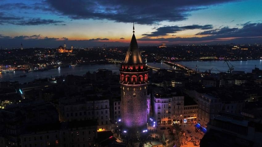Işıklandırılan tarihi yapılar havadan görüntülendi