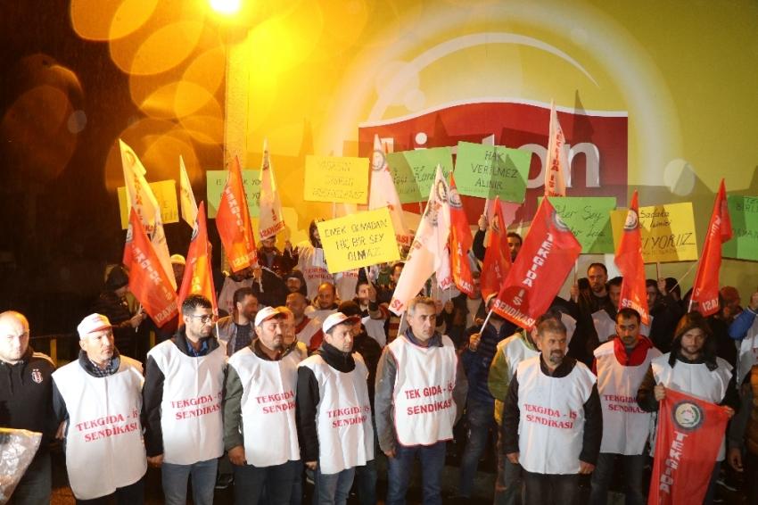 Arhavi'de çay fabrikası çalışanlarından eylem