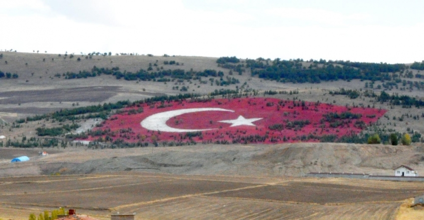 20 bin ton taşla dev Türk bayrağı