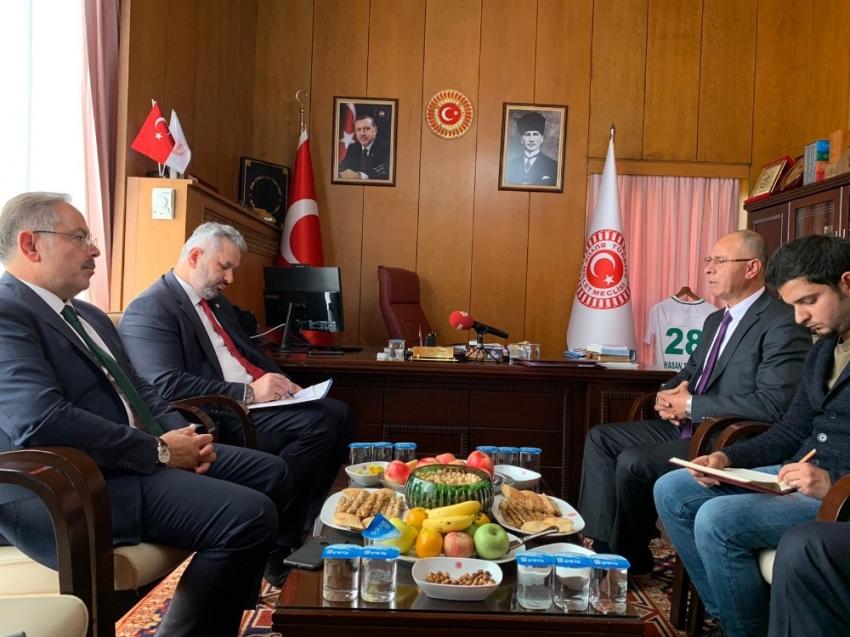 TBMM İdare Amiri Turan, Filistin'in Ankara Büyükelçisi Faed Mustafa ile görüştü