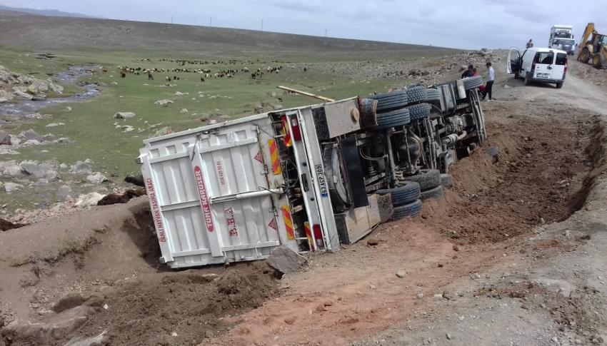 Virajı alamayan kamyonet yan yattı: 50 koyun telef oldu