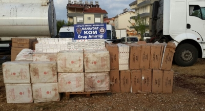 Asfalt zift tankerinde 79 bin paket kaçak sigara