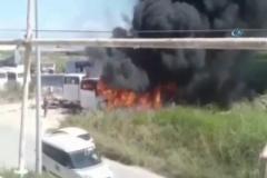 Antalya'da 4 otobüs alev alev yandı