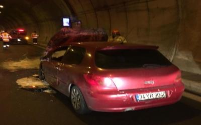 Orhangazi tünelinde bir otomobil yandı