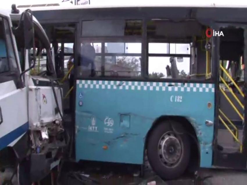 Ümraniye'de vinç özel halk otobüsüne çarptı: 9 yaralı