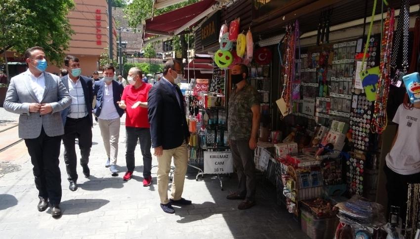 Bursa'da çarşı esnafına moral ziyareti