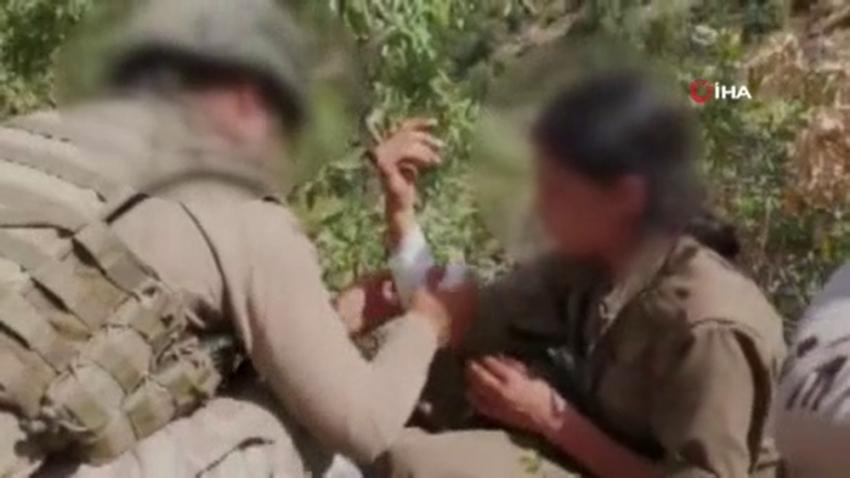 Mehmetçik'ten teslim olan kadın teröriste şefkat eli