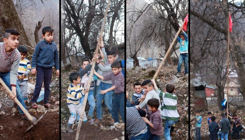 Şırnaklı çocukların bayrak sevgisi
