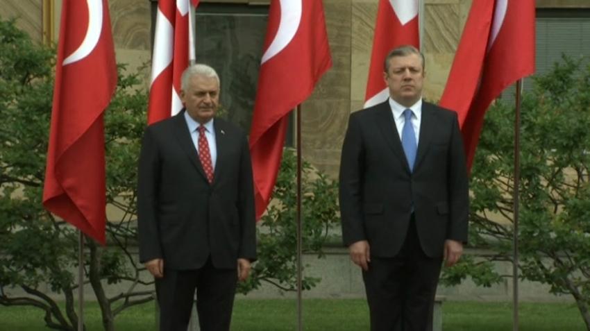 Yıldırım Gürcistan'da resmi törenle karşılandı