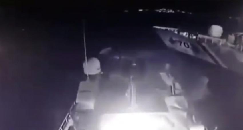 Türk ve Yunan botlarının çarpışma anı kameralarda