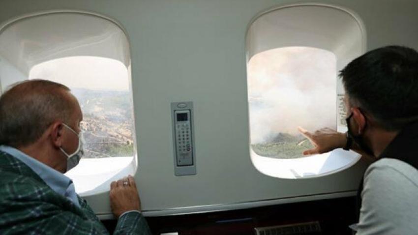 Cumhurbaşkanı Erdoğan yangın bölgesinde