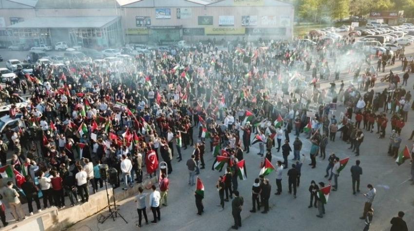 İnegöl'de Filistin'e destek konvoyu