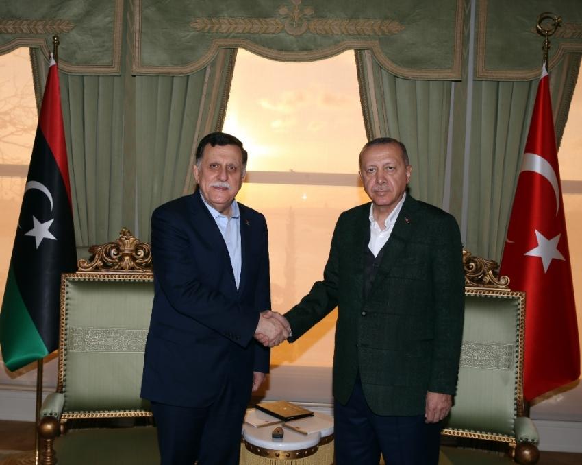 Libya Başkanlık Konseyi Başkanı Al-Sarraj'ı kabul etti