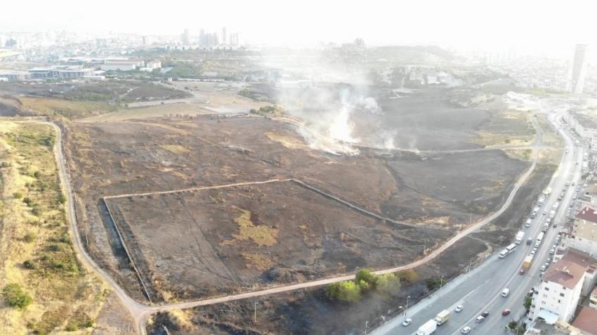 Yanan askeri alanın son hali havadan görüntülendi